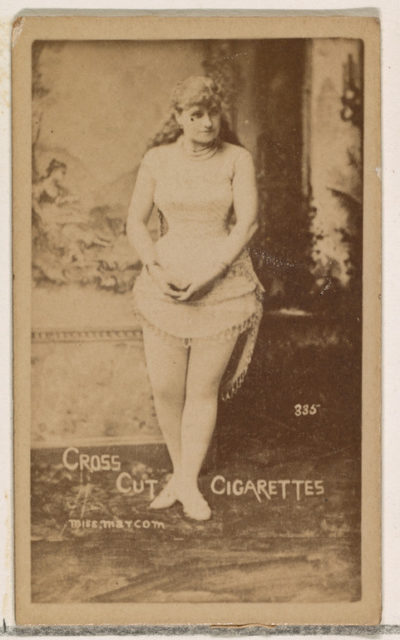 Card Number 335, Miss Marcom, from the Actors and Actresses series (N145-1) issued by Duke Sons & Co. to promote Cross Cut Cigarettes