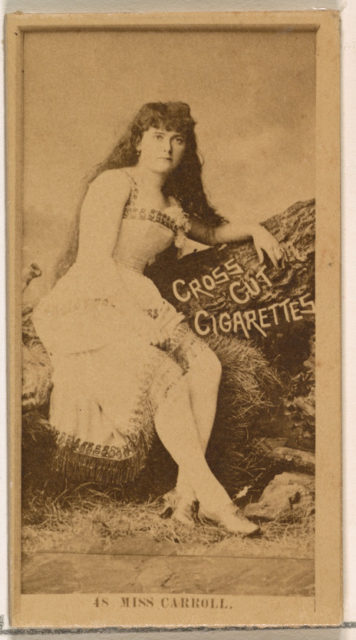 Card Number 48, Miss Carroll, from the Actors and Actresses series (N145-2) issued by Duke Sons & Co. to promote Cross Cut Cigarettes