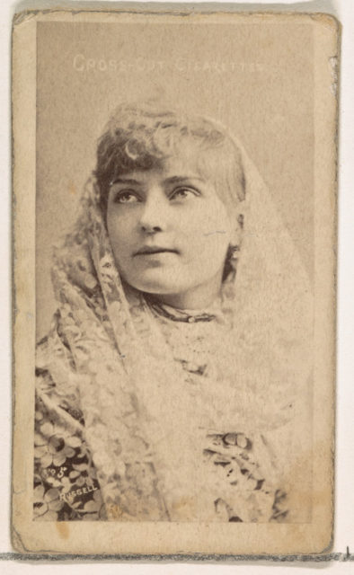 Card Number 5, Lillian Russell, from the Actors and Actresses series (N145-1) issued by Duke Sons & Co. to promote Cross Cut Cigarettes