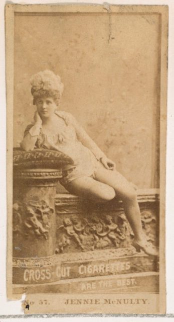 Card Number 57, Jennie McNulty, from the Actors and Actresses series (N145-2) issued by Duke Sons & Co. to promote Cross Cut Cigarettes