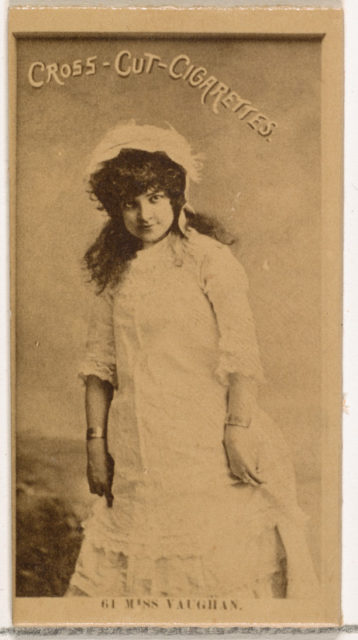 Card Number 61, Miss Vaughan, from the Actors and Actresses series (N145-2) issued by Duke Sons & Co. to promote Cross Cut Cigarettes