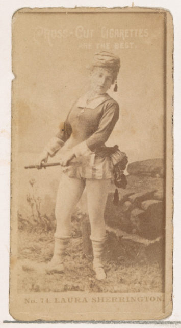 Card Number 74, Laura Sherrington, from the Actors and Actresses series (N145-2) issued by Duke Sons & Co. to promote Cross Cut Cigarettes