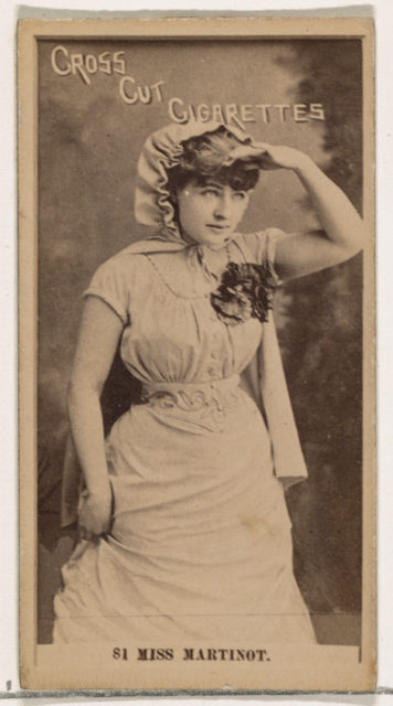 Card Number 81, Miss Sadie Martinot, from the Actors and Actresses series (N145-2) issued by Duke Sons & Co. to promote Cross Cut Cigarettes