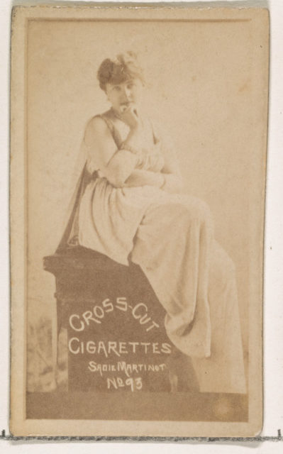 Card Number 93, Sadie Martinot, from the Actors and Actresses series (N145-1) issued by Duke Sons & Co. to promote Cross Cut Cigarettes