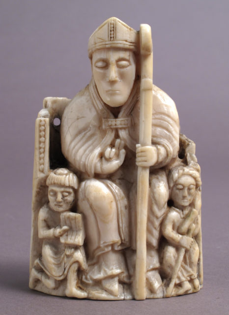 Chess Piece in the Form of a Bishop with Two Attendants