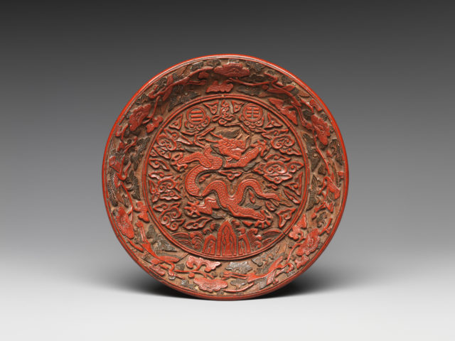 Circular Dish with Dragon, Trigrams, and the Character for Longevity (Shou)