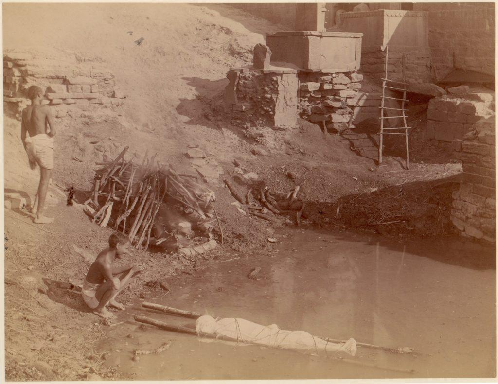 [Cremation Ground at Manikarnika Ghat, Varanasi, India]
