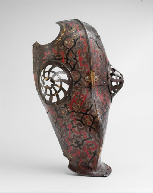 """Crinet Plate and Shaffron Belonging to an Armor for Field and Tournament Made for Duke Nikolaus """"The Black"""" Radziwill (1515–1565), Duke of Nesvizh and Olyka, Prince of the Empire, Grand Chancellor and Marshal of Lithuania"""