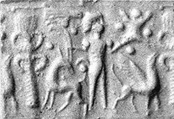 Cylinder seal and modern impression: palmette tree flanked by winged griffin and caprid; figure between them with raised hands; ingot