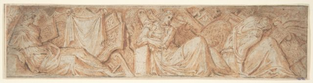 Design for a Frieze with an Armorial Trophy and Three Female Figures
