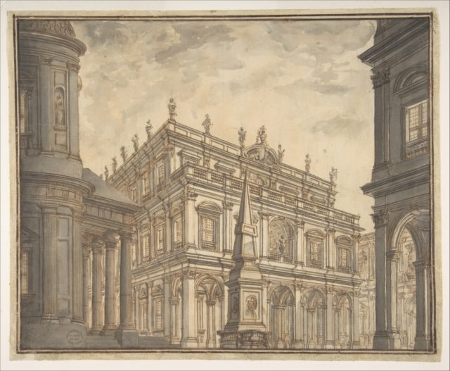 Design for a Stage Set: A Town Square with a Fountain.