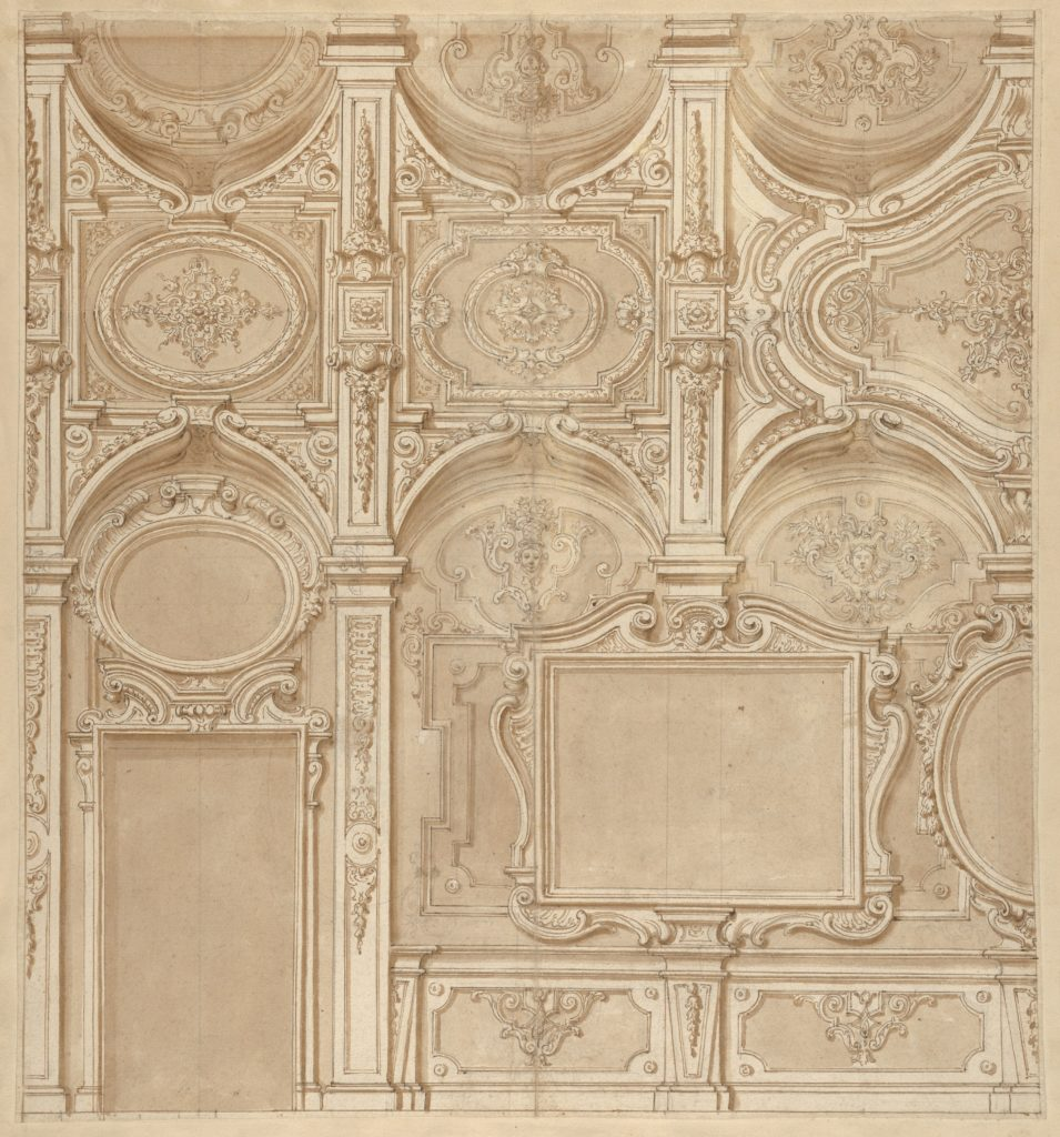 Design for a Wall and Ceiling with Frames and Decorations in Stucco