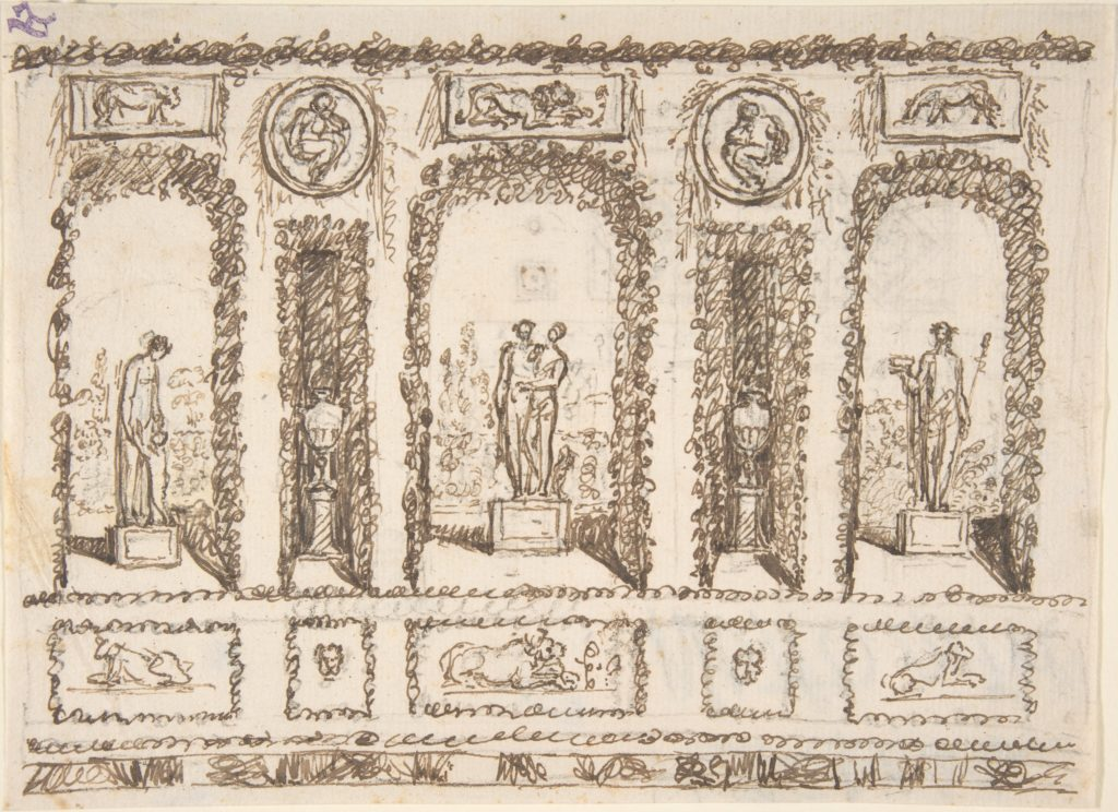 Design for a Wall Decoration of a Conservatory or Grotto with Statues and Vases in Niches