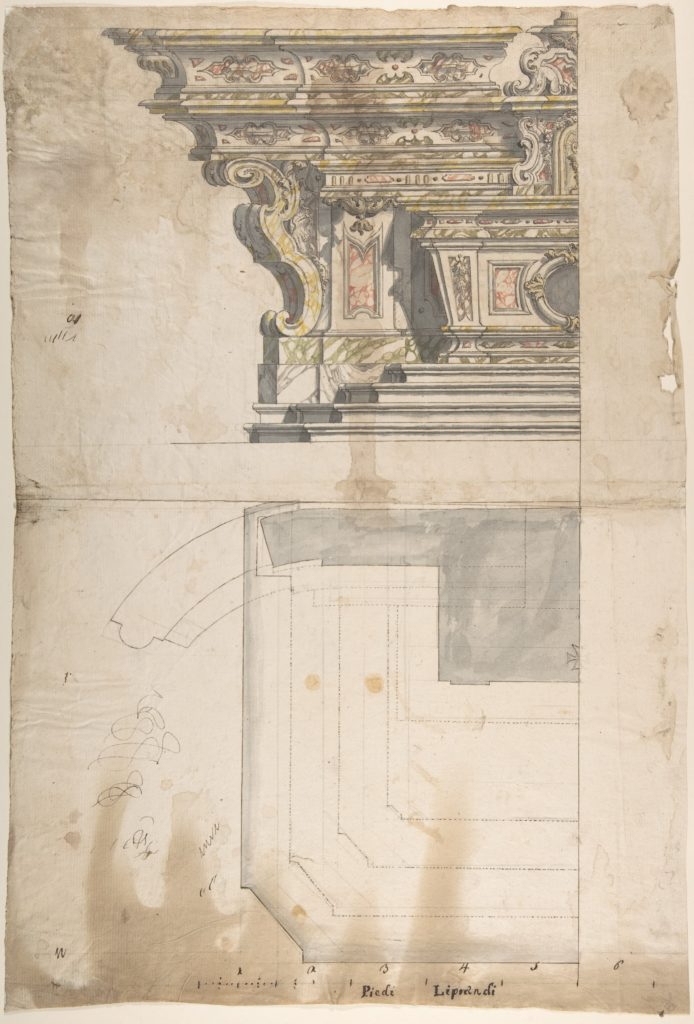 Design for one Half of an Altar: Elevation and Ground Plan