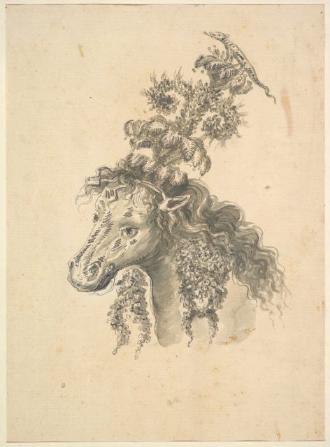 Design for the Headdress of a Horse Crowned by a Small Lizard