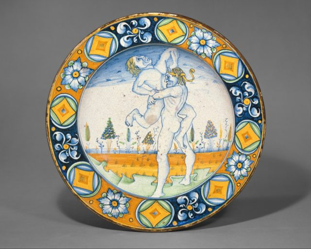 Dish (piatto); The story of Hercules: Hercules lifts the giant Antaeus clear of the Earth, his mother, from whom he derived his phenomenal strength