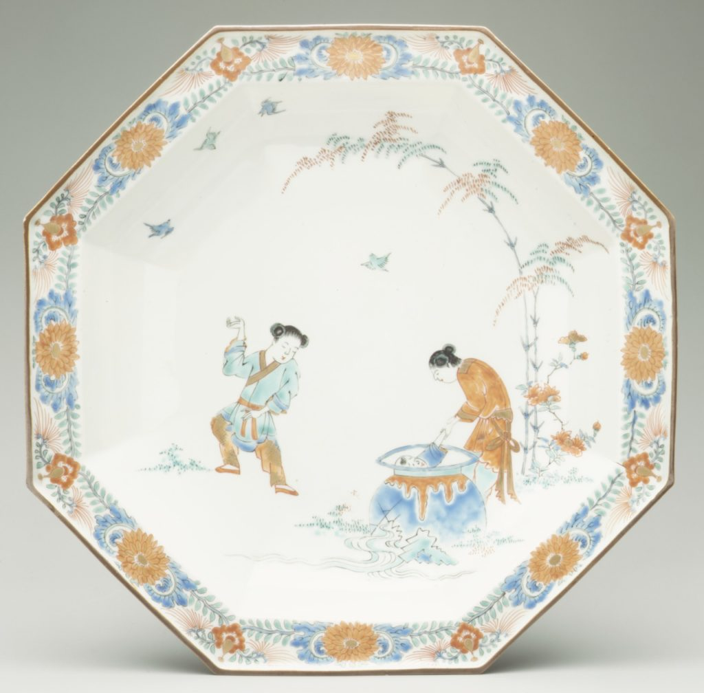 Dish with the Chinese story of Sima Guang