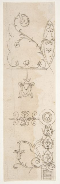 Domus Aurea, unidentified, grotteschi, details (recto) blank (verso)