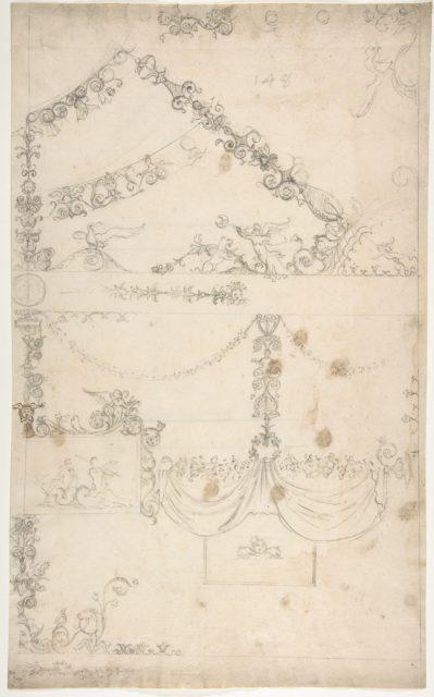 Domus Aurea, Volta Gialla, grotteschi, details (recto) Unidentified building, thermal window, elevation (verso)