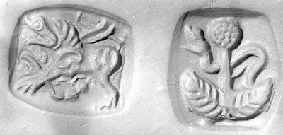 Double-sided stamp seal: snake behind tree; winged dragon
