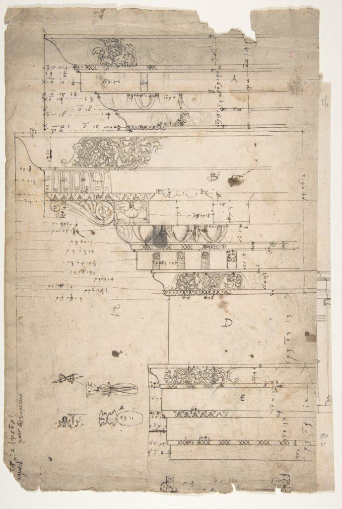 Forum of Nerva, entablature, elevation; cornice, elevation (recto) Forum of Nerva, architrave panel, ceiling plan, Corinthian, capital (verso)