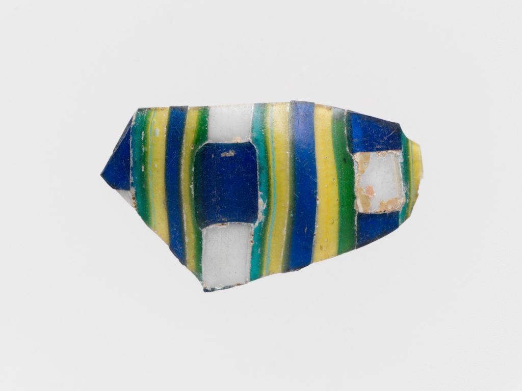 Glass striped mosaic fragment