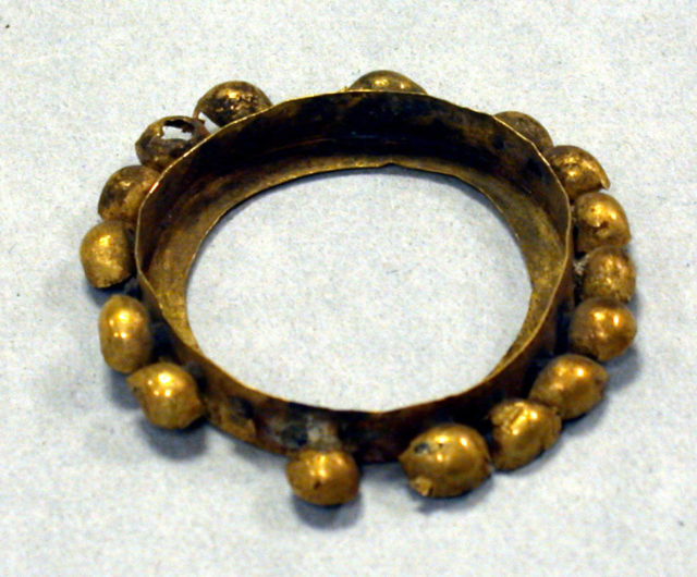 Hammered Gold Band with Bells