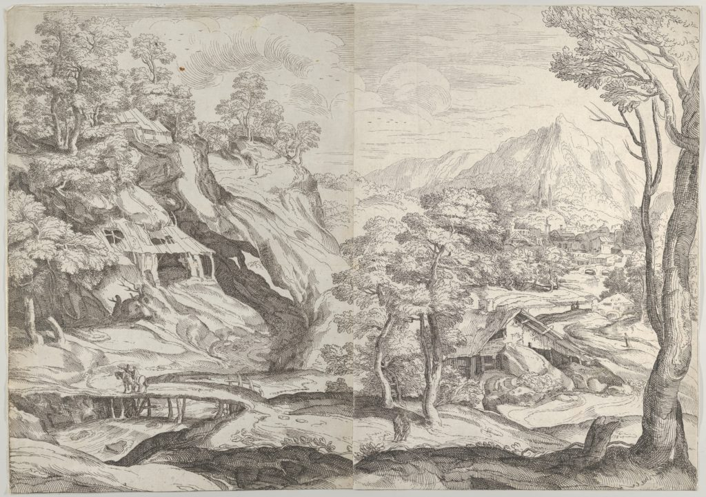 Landscape with a town in the background at the right, a winding road in the foreground