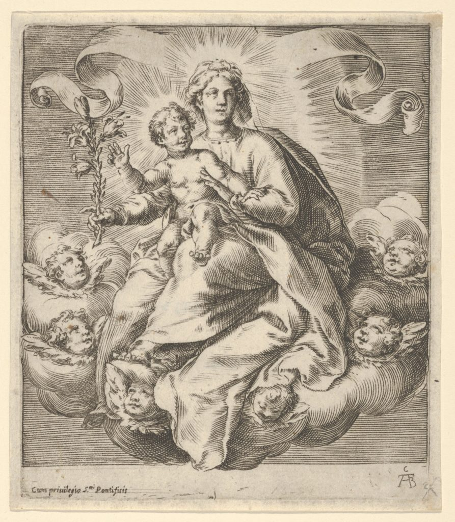 Madonna holding a lily branch with the Christ Child on her lap, seated on clouds, surrounded by cherub heads