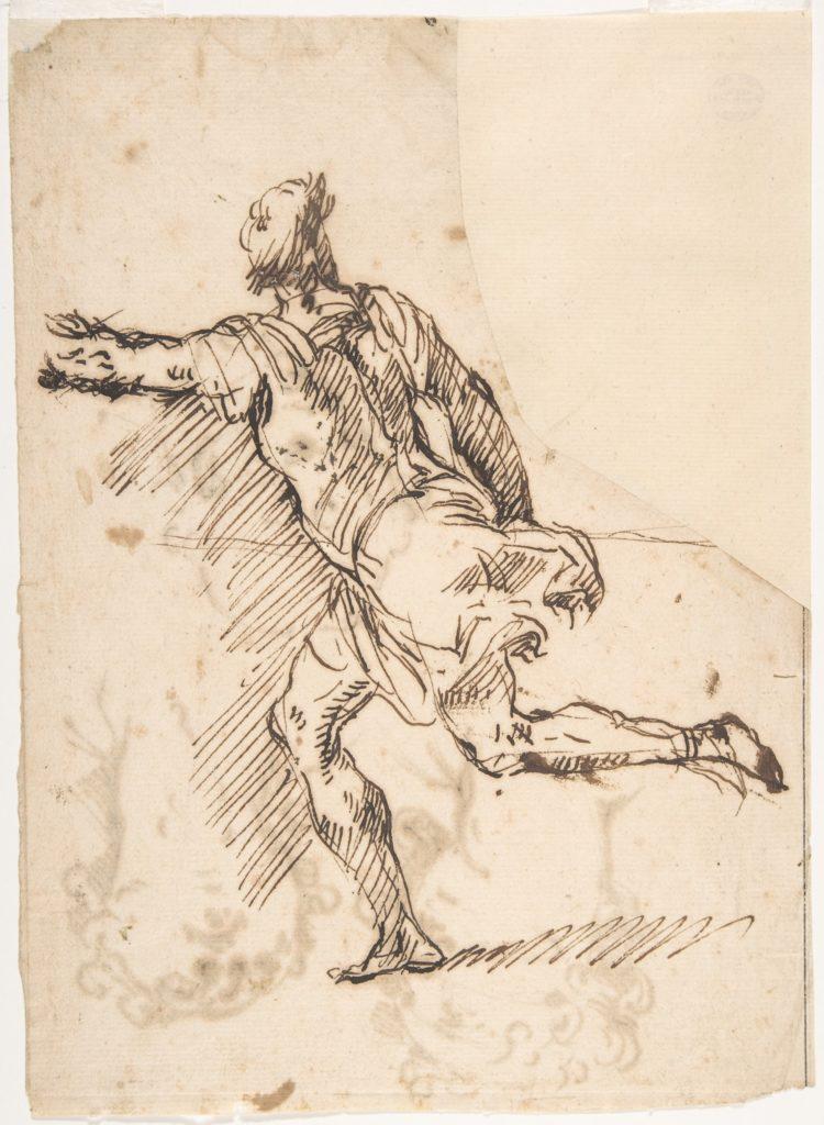 Male Figure Running (recto); Three Pen Studies of Male Heads (verso)