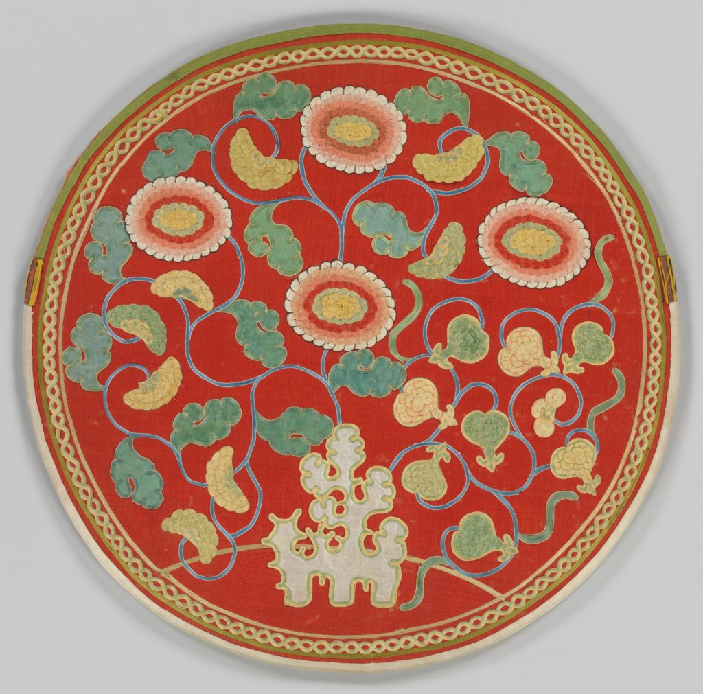 Mirror Case with Pattern of Rock, Chrysanthemums, and Pomegranates