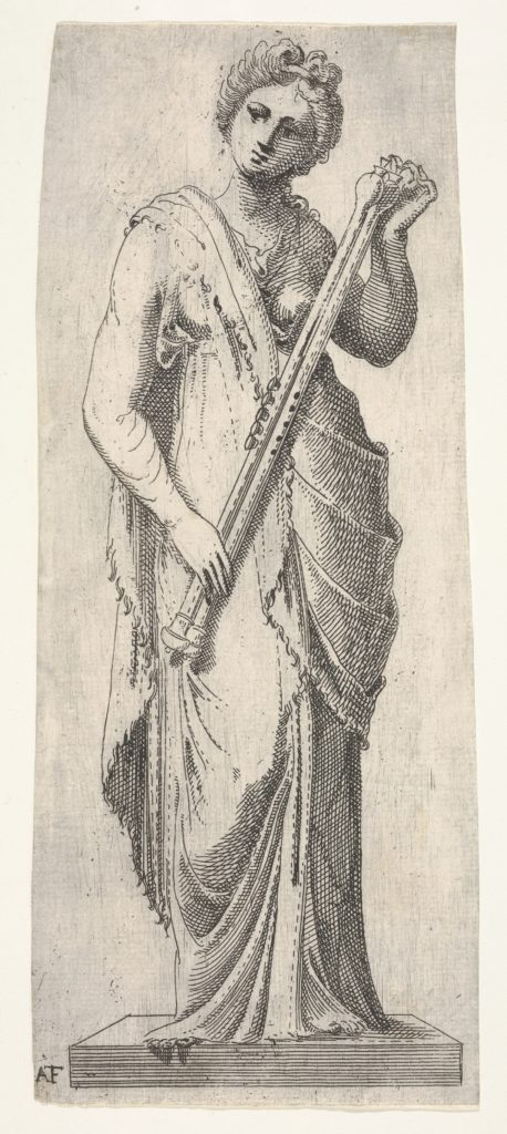 Muse on a pedestal standing in frontal view and holding a double flute