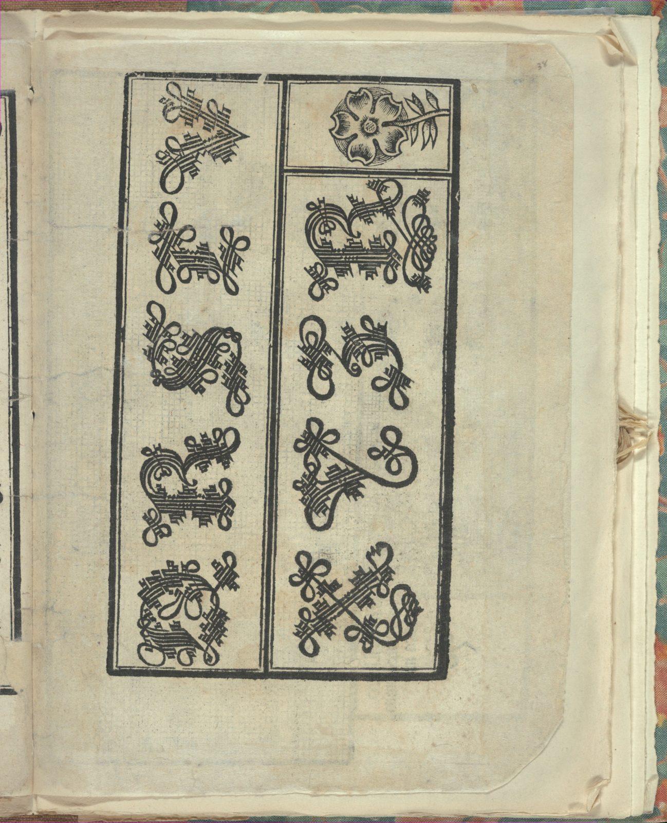 Opera Nova Universali intitulata Corona di racammi, page 38 (recto)