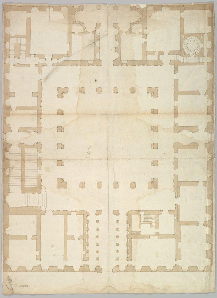 Palazzo Farnese, plan, ground floor (recto) blank (verso)