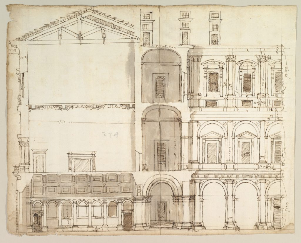 Palazzo Farnese, section (recto) blank (verso)