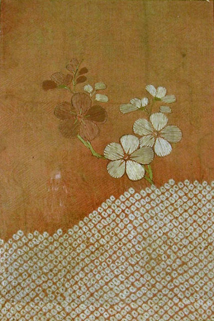 Piece from a Kosode with Plum Blossoms and Cloud