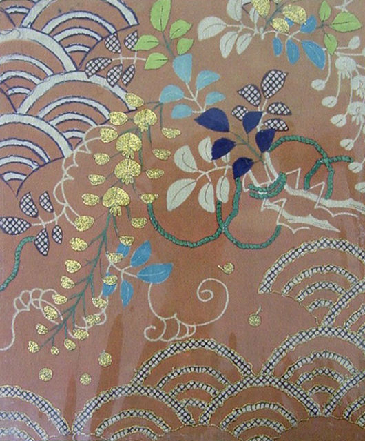Piece from a Kosode with Wisteria and Stylized Waves