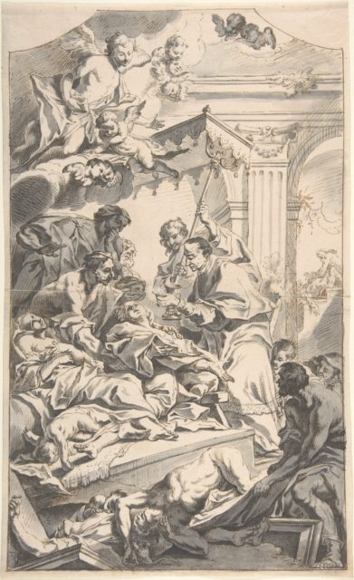 Saint Carl Borromäus Giving Extreme Unction to the Plague-Stricken.