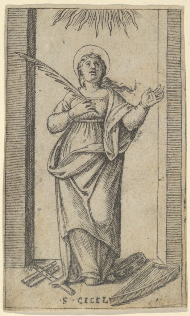 Saint Cecilia standing holding a palm of martyrdom in her right hand,  from the series 'Piccoli Santi' (Small Saints)