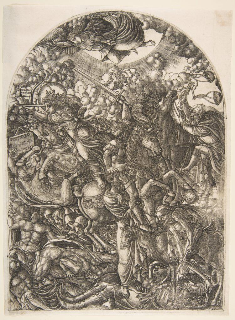 Saint John sees the Four Horsemen, from the Apocalyspe