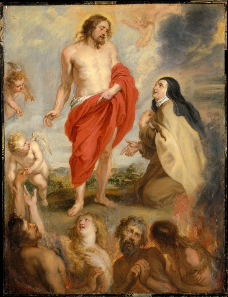 Saint Teresa Of ávila Interceding For Souls In Purgatory