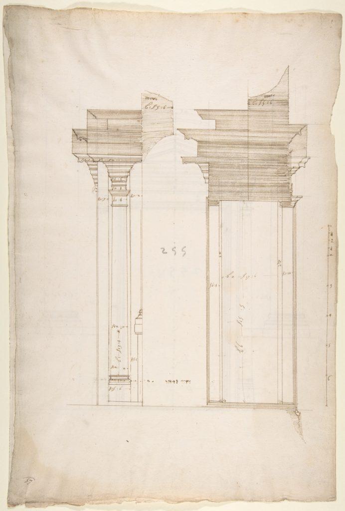 San Lorenzo, Library, portal, section (recto) San Lorenzo, Library, Ricetto, portal, elevation (verso)