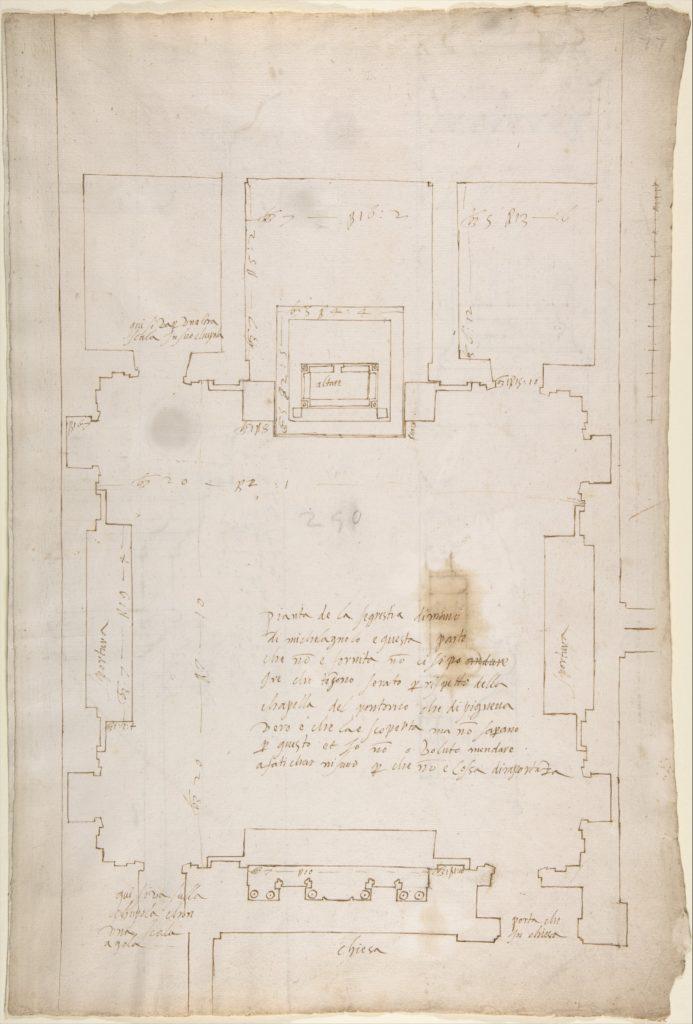 San Lorenzo, New Sacristy, plan (recto) San Lorenzo, New Sacristy, details, elevation and section (verso)