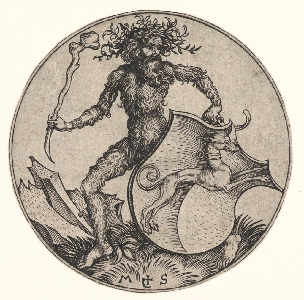 Shield with Greyhound Held by Wild Man