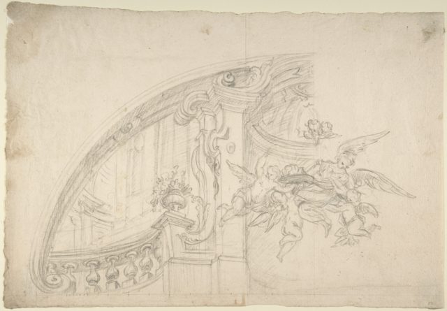 Sketch for the Rear Arched Area of a Chapel, with an Angel and Three Putti Holding Up a Plate with the Head of the Baptist