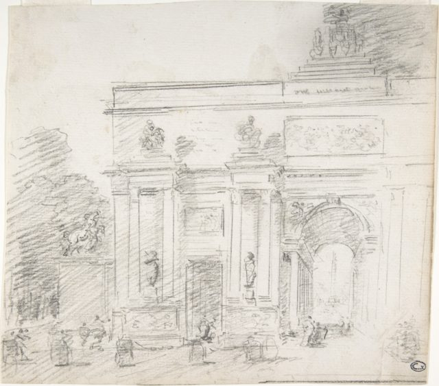 Sketch of Triumphal Arch (recto); Alternate Study for Triumphal Arch (verso)