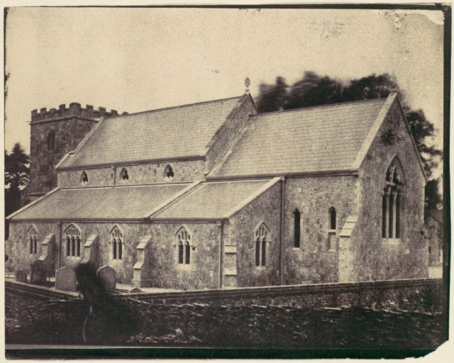 [St. Cyriac Church at Lacock Abbey, Ghost Figure of Man in a Top Hat in Foreground]