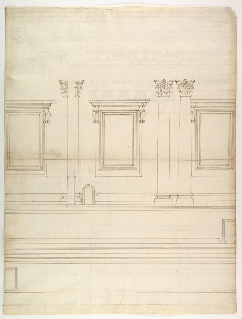 St. Peter's, drum, exterior, elevation (recto) St. Peter's, tribune, entablature, section and details (verso)