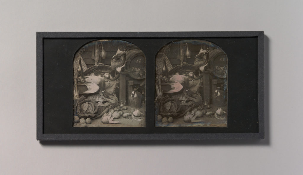 [Stereograph Still-life of Fowl with Initialed Barrel and Root Vegetables]