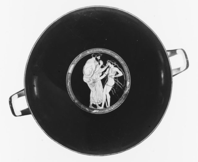 Terracotta kylix (drinking cup), joined by 1978.11.7a,d; 1980.304; 1988.11.5; 1989.43; 1990.170; 1995.540